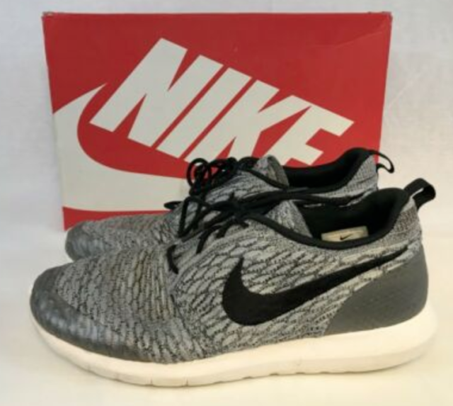 buy sale another chance unique design Nike Roshe Run NM Flyknit SE Wolf Grey Black White 816531-002 Sz 9 ...