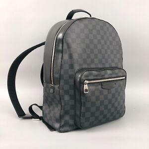 Louis-Vuitton-Damier-Monograma-logotipo-Grafito-Hombres-Josh-Mochila-Bolsa-De-Lona-Cuero