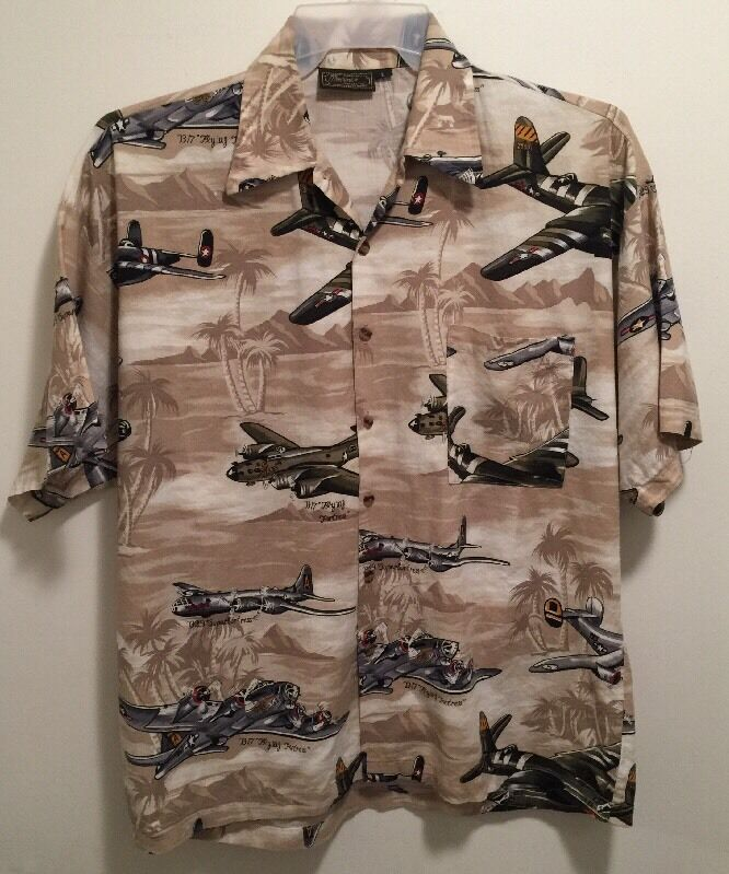 EUC Uomo's Monzini WWII USAAF Air Forces Forces Forces Bomber Planes Hawaiian Camp Shirt L 5804f8