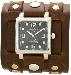 0fd1e4fef Men's Brown 3 Strap Leather Cuff Watch With Silver Studs - Wide Band ...