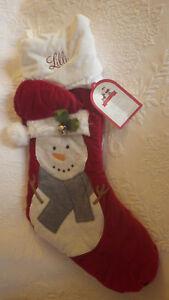 Pottery Barn Stocking Lilli Luxe Velvet Snowman Bell