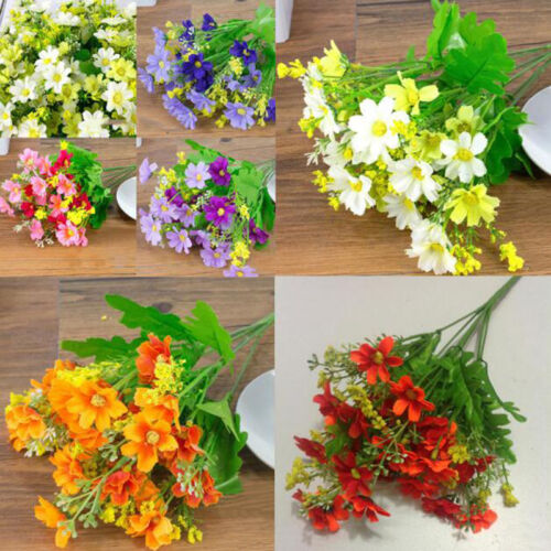 28HEADS 7 Branches Flower Fake False Plants Grass Artificial Garden Daisy DecorE