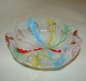 Murano Venetian Art Glass Zanfirico Multi-Color Filigree Latticino Ribbon Bowl