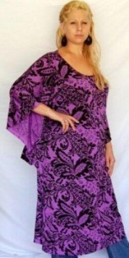 lila caftan dress top jersey print M L XL 1X 2X zl325