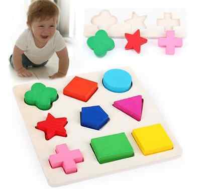 Colorful Wooden 9 Shapes Plate Play Building Blocks Baby Educational Bricks Toy