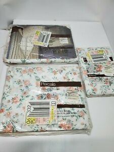 Vtg-JCPenney-Percale-Sheet-Set-Flowers-1970S-full-Twin-size-set-New-Floral