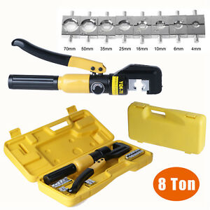 Hydraulic Crimper Tool Kit Tube Terminals Lugs Battery Cable Wire ...