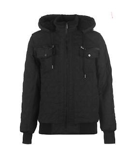 Stoff-gesteppt-mit-Kapuze-schwarz-Jacke-Herren-Groesse-UK-Xl-ref141