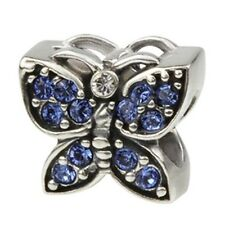 SilveRado Swarovski Cystal Blue Butterfly Pan dora European Charm Bead