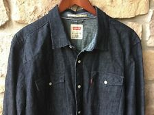 LEVI'S Sawtooth Slim Fit Mens XL Dark Wash Blue Denim Western Shirt Pearl Snap