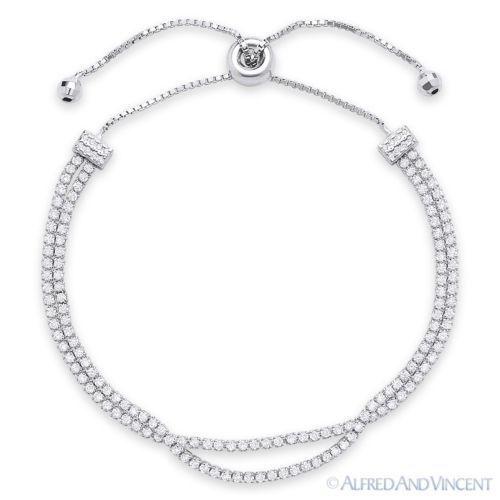 3.6mm Cubic Zirconia CZ Crystal 925 Sterling Silver Sliding Lock Tennis Bracelet