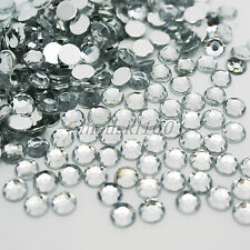 1000 Crystal Clear Rhinestones Acrylic 4mm Gems Diamond Round Silver Flat Back
