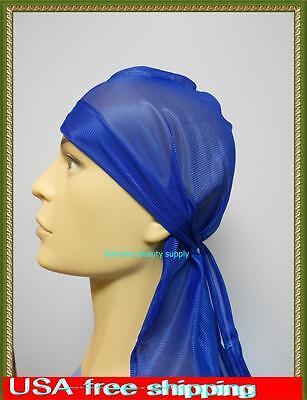 Royal blue Wave Cap  sport hip hop du doo rag durag SKULL CAP HAT Nylon Tie