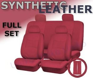 SOLID RED PU Low Back Synthetic Leather Seat Covers Steering Wheel Set CS1