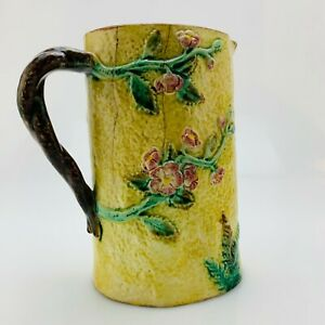 Vintage-Majolica-8-034-19th-Century-Pitcher-Flowers-and-Branches-Hand-Painted