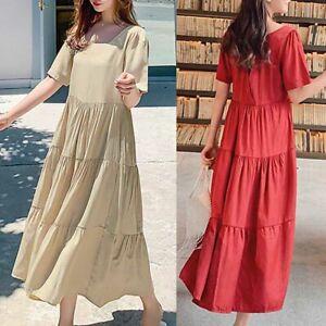 ZANZEA-8-24-Women-Summer-Short-Sleeve-Tiered-Layered-Sundress-Flare-Maxi-Dress