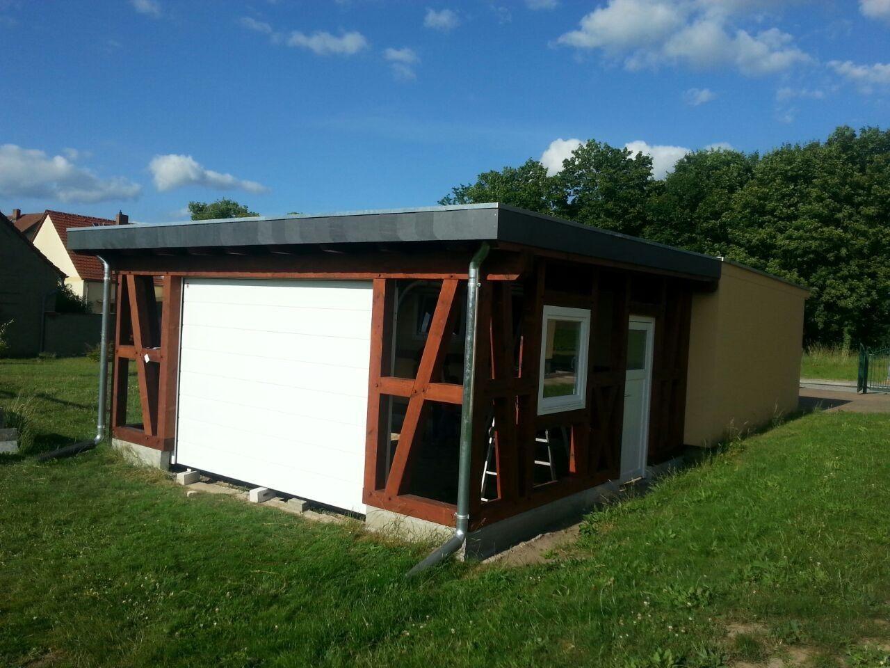 Fachwerk Garage - Leipzig, Flachdach KVH 5,00 x 5,30 m als Bausatz