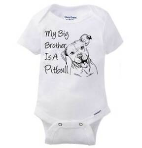08fee186b My Big Brother Is A Pitty Gerber Onesie | Puppy Dog Siblings Family ...