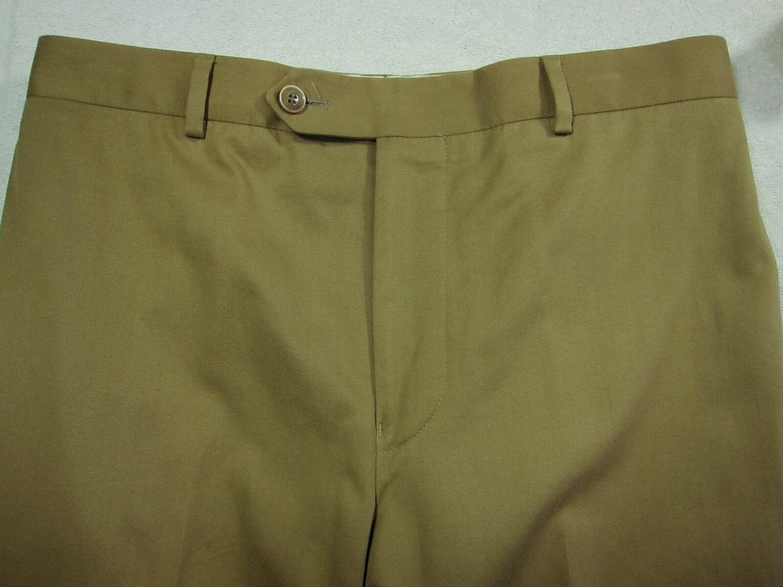 Magnifique Samuelsohn Foncé Coton & Cachemire Plat Pantalon de Costume 32x28 32W