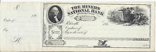 1860s US Bank Check, The (Coal) Miners National Bank, Unc Details*