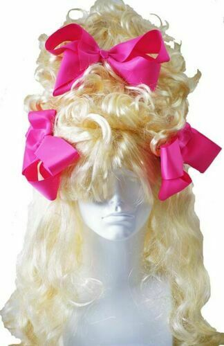 Drag Queen Pantomime Dame BLONDE CURLY BEEHIVE WIG WITH 3 COLOURFUL CLIP ON BOWS