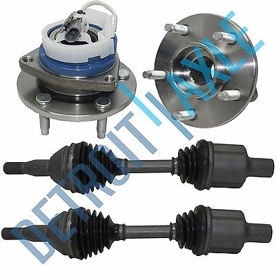 2 Complete Front CV Half Drive Axle Shafts + 2 Wheel Hub & Bearing Assembly