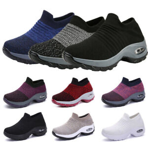 Women-039-s-Sport-Air-Cushion-Sneakers-Breathable-Mesh-Walking-Slip-On-Running-Shoes