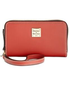 Dooney-amp-Bourke-Beacon-Zip-Around-Smooth-Leather-Wristlet-Red-Gold