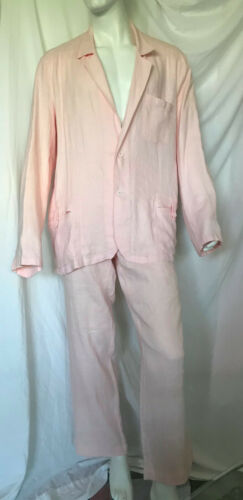 VINTAGE ZYGA PINK LINEN SUIT JACKET PANTS ITALY