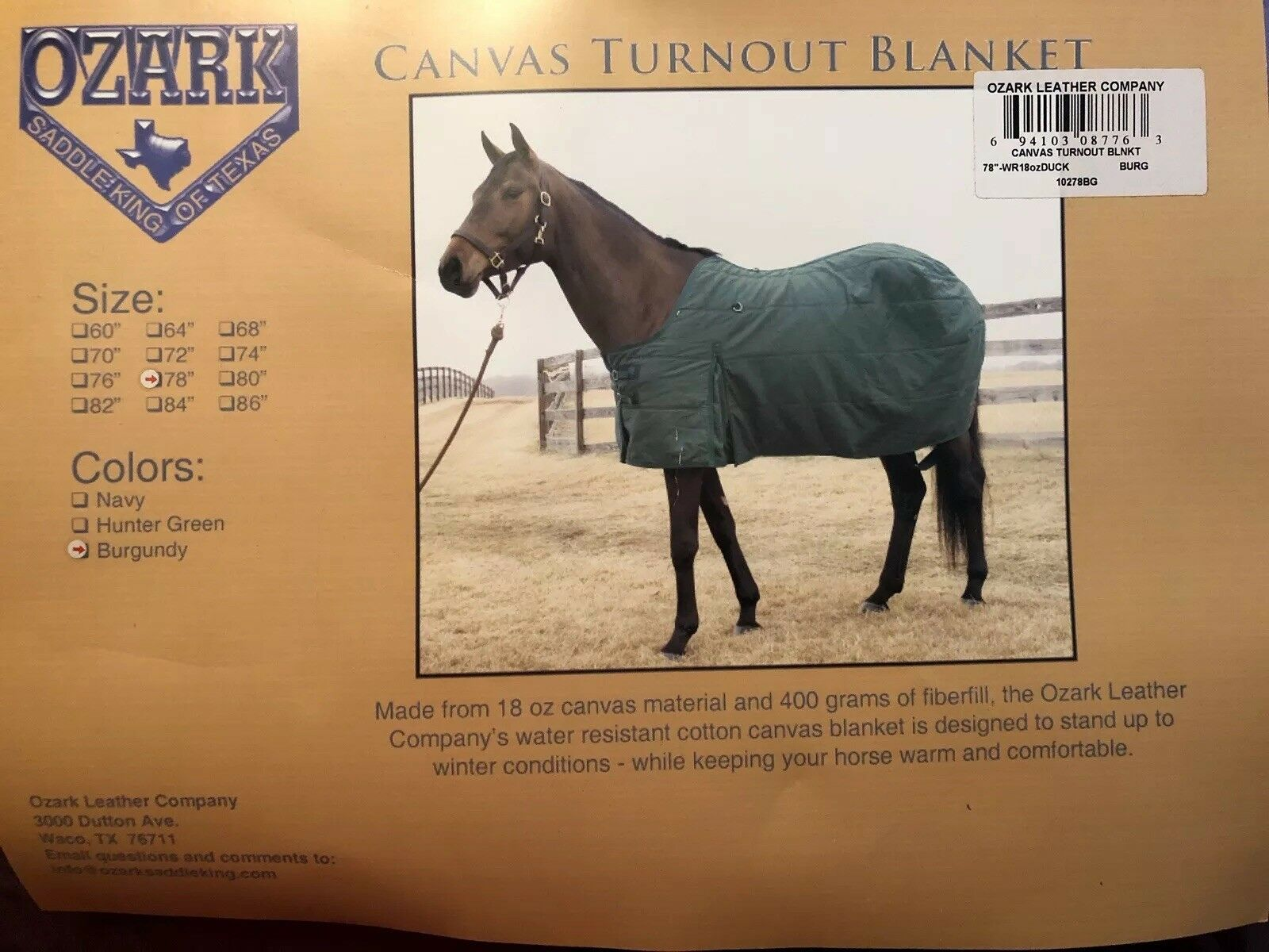 "New Ozark Learher Canvas Winter Horse Blanket Size 78"" Burgundy"