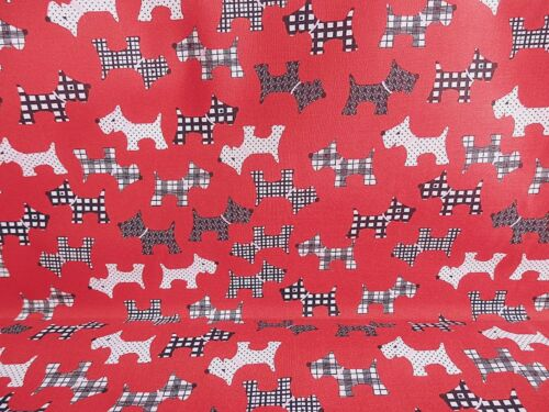 Polycotton Fabric NEW Crafts RED SCOTTIE DOG Metre Material Special Offer