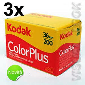 3-pezzi-pellicola-rullino-Kodak-Color-Plus-36-foto-200-ISO-35-mm-SCADENZA-2021