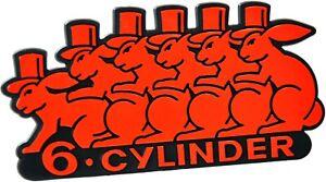Auto-3D-Relief-Schild-6-CYLINDER-Emblem-10-cm-HR-Art-49998-selbstklebend