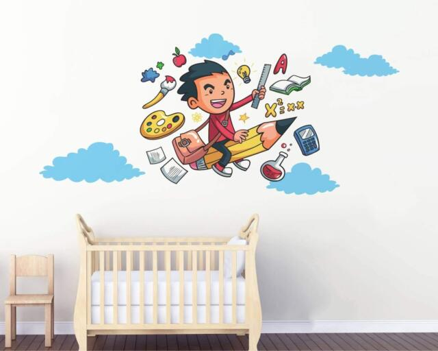 Pencil Jet and Boy  Wall Stickers Removable Decal Home Decor 55 x 130 cm
