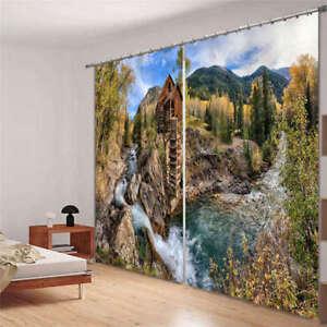 Montagnes-De-Feuilles-Jaunes-3D-Rideau-Blockout-Photo-Impression-Rideaux-Draper