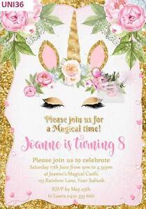 Image Is Loading Unicorn Invitation Rainbow Birthday Party Invitations Invites Glitter