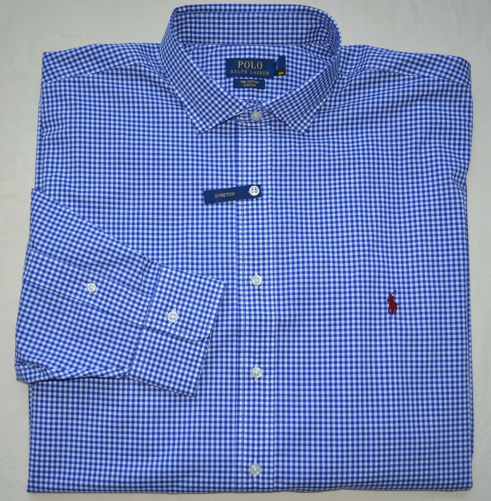 New 2XLT 2XL TALL 2XT POLO RALPH LAUREN Men button down dress shirt bluee gingham