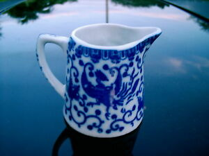 VINTAGE JAPAN CREAMER  BLUE & WHITE ALL OVER PATTERN