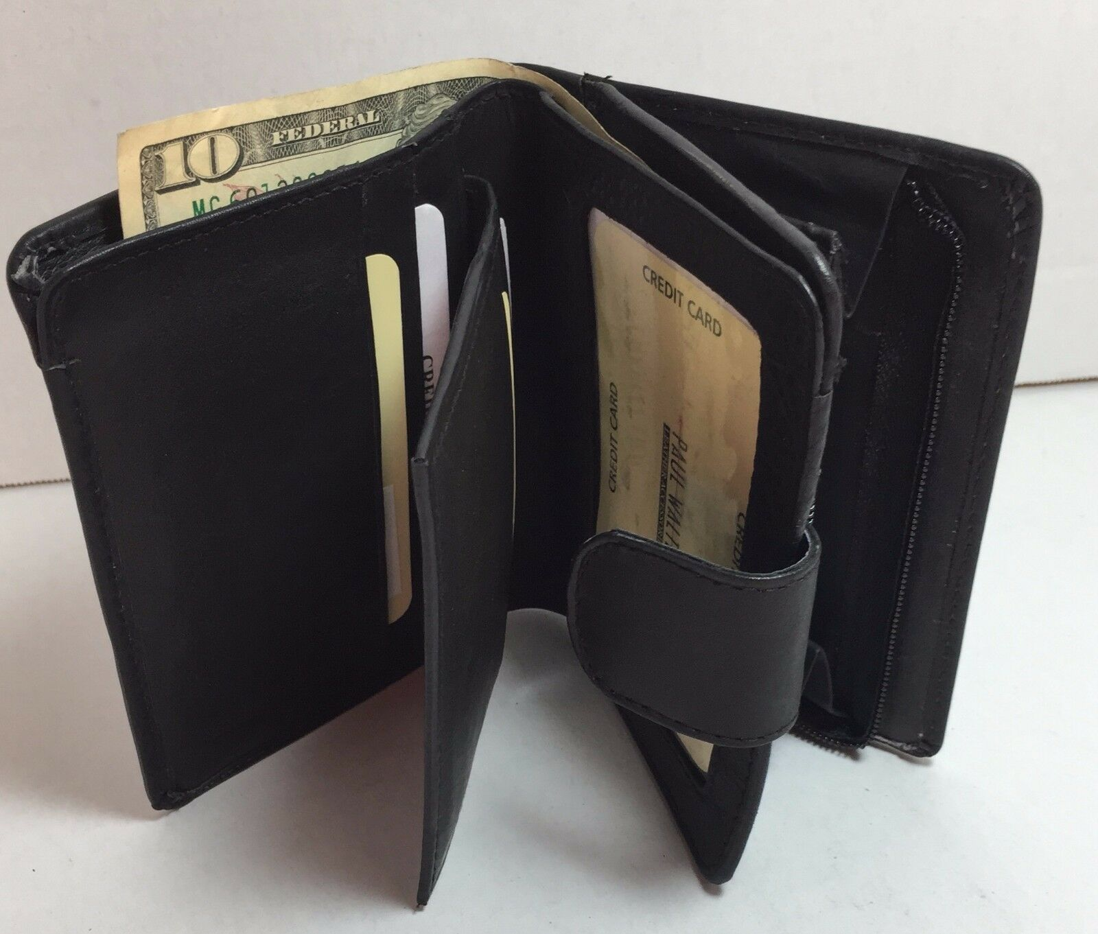 New Women wallet superior leather Multi-function attache purse,organizer Black