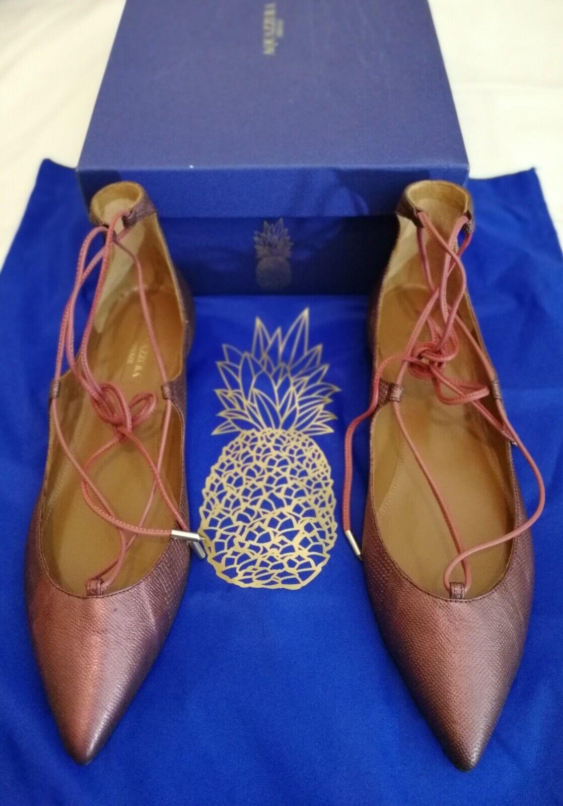 Aquazzura Firenze Christy Flat Karung Leather Größe uk 5.5, eu 38.5 New