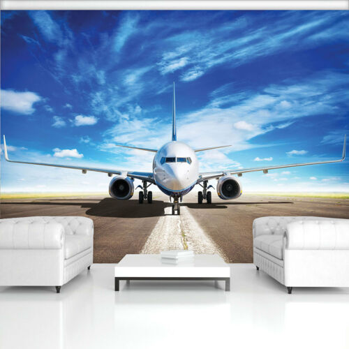 Fleece Photo Wallpaper Photo Wallpaper Poster Plane Blue Runway Sky 3fx11390ve