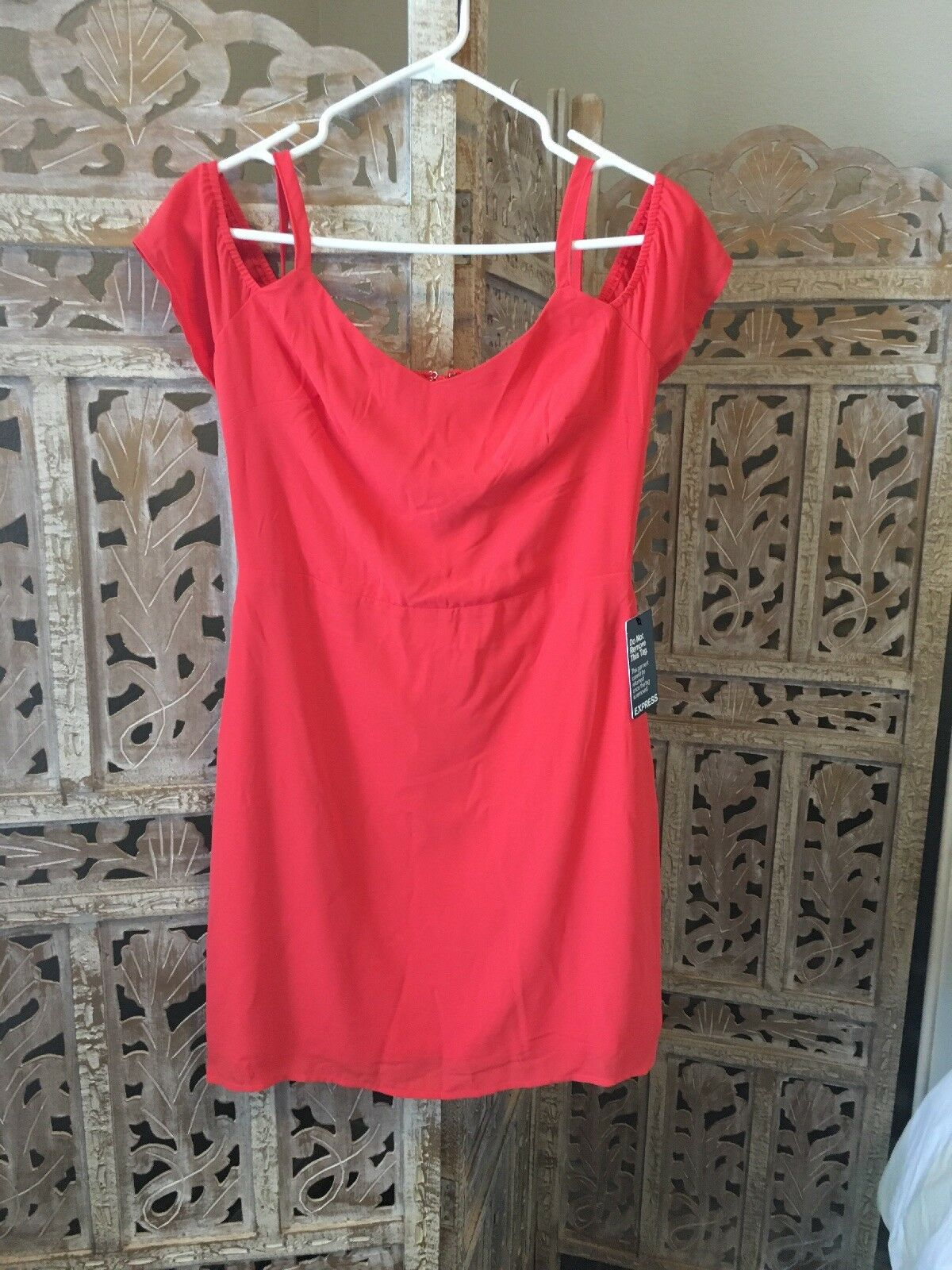 Express Off The Shoulder  Coral Dress