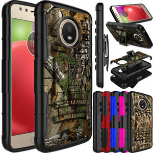 For-Motorola-Moto-E4-E4-Plus-Hybrid-Holster-Belt-Clip-Kickstand-Armor-Case-Cover