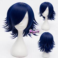 30CM Dark Blue Short Hair for VOCALOID Kagamine RIN Anime Cosplay Wig + Cap