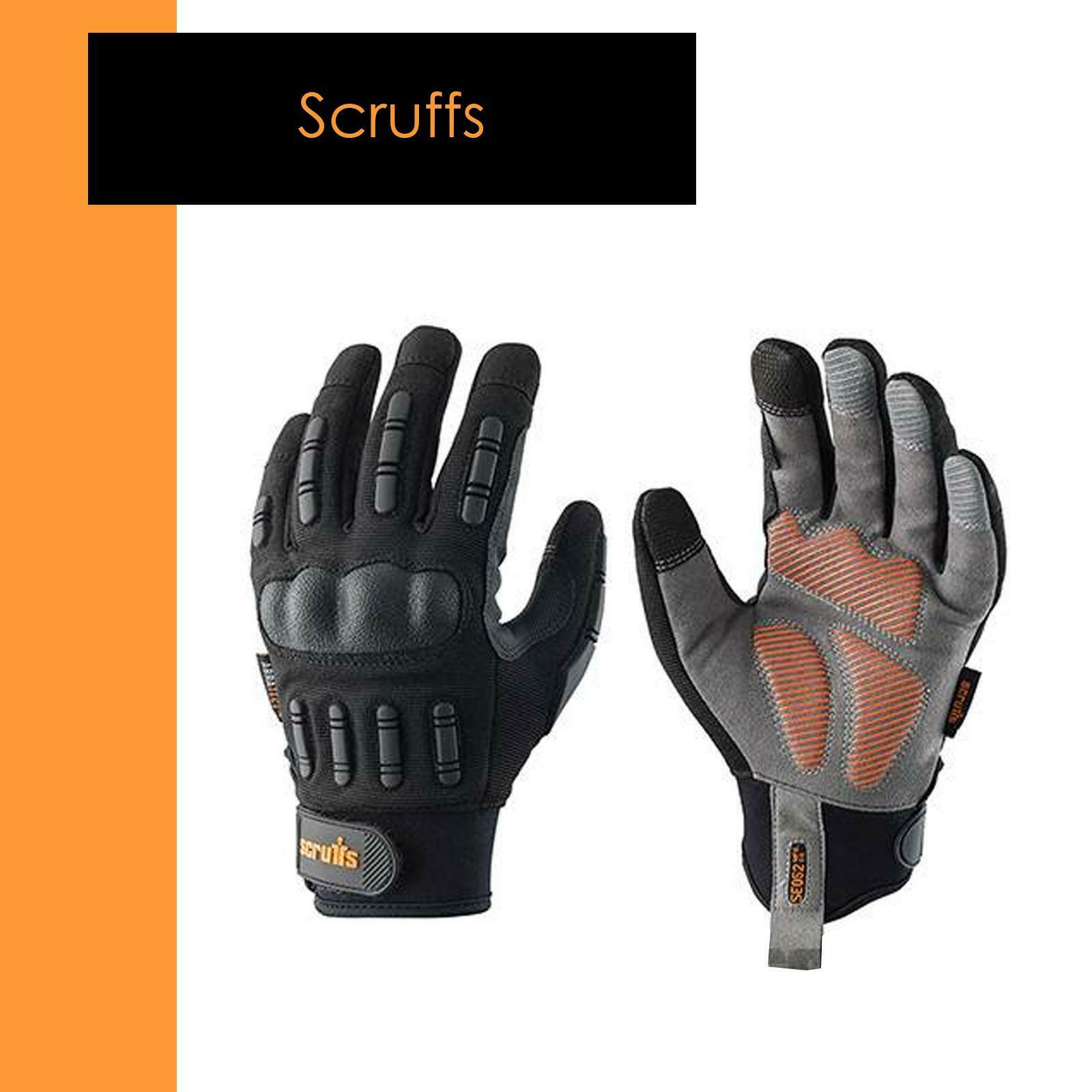 Men's Trade Work Safety Gloves Padded Reflective Work Gloves L/9- Scruffs