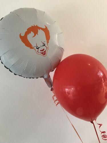 Pennywise IT Foil Balloon /& Red Helium Balloon Halloween Decoration Clown