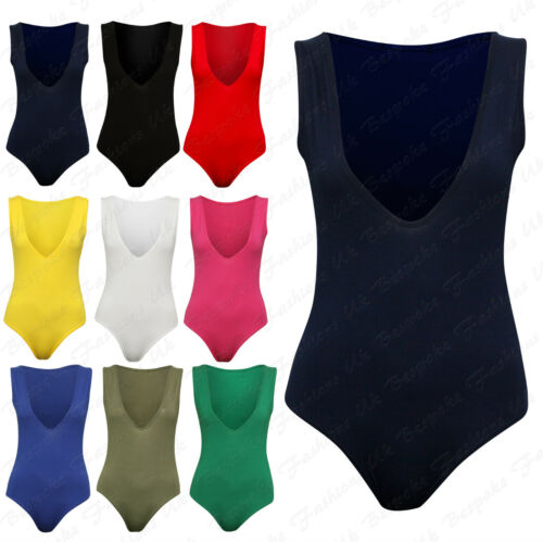 Ladies Women/'s Low V Neck Sleeveless Fitted Stretch Bodysuit Leotard Plus 8-22