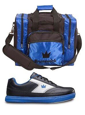 Mens Brunswick RENEGADE Bowling Shoes Black//Blue Sizes 6-15 /& Blue 1 Ball Bag