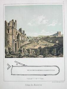 ITALY-Rome-Remains-of-Circus-Maxentius-Antique-Tinted-Print-Original