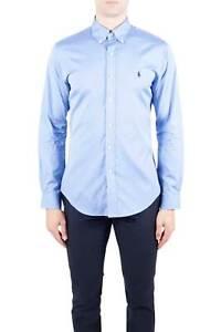 POLO-RALPH-LAUREN-Camicia-uomo-slim-in-cotone-stretch-azzurro